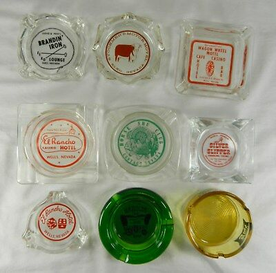 Lot Of 9 Vintage Casino Glass Ashtrays