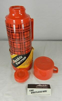 Mid Century Aladdin 1 Quart Plastic Red Plaid Thermos - New Old Stock