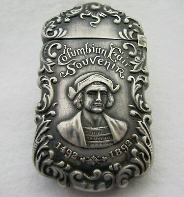 Antique Advertising Columbian Exposition 1892 Silver Match Safe