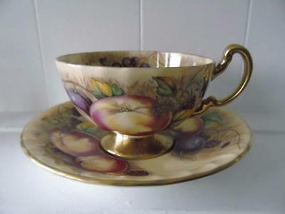 Aynsley Athens Shape Orchard Gold Fruits Footed Cup & Saucer Set by Nancy Brunt