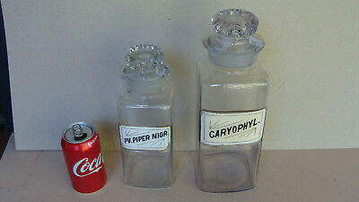 2 large vintage apothecary bottles w glass labels *