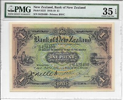 New Zealand, Bank of New Zealand - 1 pound, 1918. Handsigned. PMG 35EPQ. Ex.Rare
