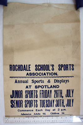 1930s poster Rochdale Schools Sports Association at Spotland