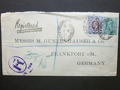 GB 1904 KEVII 1/2d + 9d Cover REGISTERED BARBICAN.B.O.E.C ovals to Germany