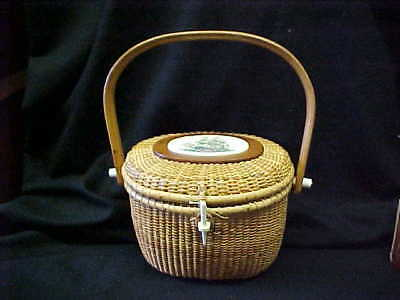 VINTAGE NANTUCKET BASKET / PURSE  SIGNED BARLOW w SAILING SHIP PLAQUE
