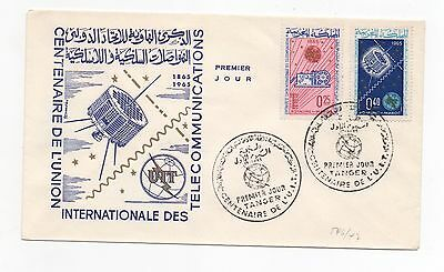 1965 MOROCCO First Day Cover CENTENARY OF ITU SG163 SG164 Tangier SPACE