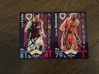 Fonte & Randolph Hand Signed West Ham 16/17 Match Attax Extra Cards