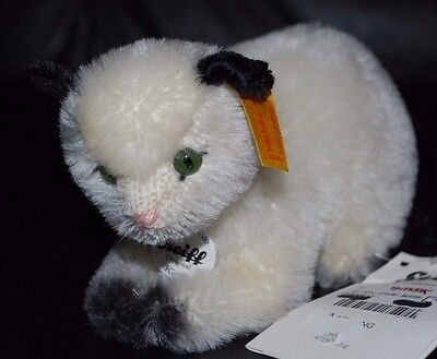 New Steiff Mohair Kitty Cat Kitten White & Black 6""