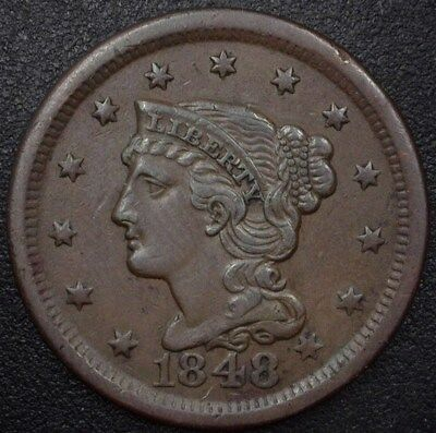 1848 Braided Hair Large Cent  Au+