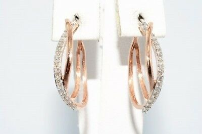 $1,100 .30Ct Natural Round Cut Diamond Double Hoop Earrings 10K Rose Gold