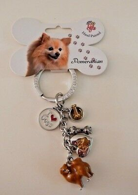 Pomeranian Dog Key Ring w Tag Cute Dangle Charms by Little Gifts