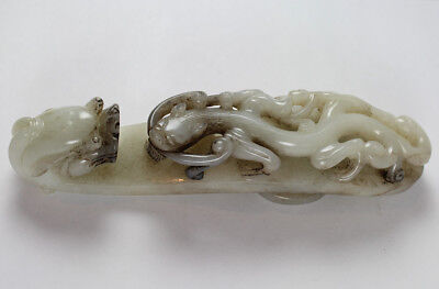 Large 18Th C Superb Chinese White/ Off White Jade Belt Hook Dragon