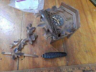 Small, Antique Cuckoo Clock, For Parts, Restoration! One Weight!