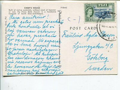 Fiji post card to Sweden 1956(?)