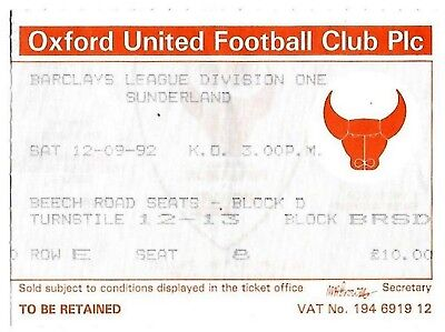 Football Ticket>OXFORD UNITED v SUNDERLAND Sept 1992