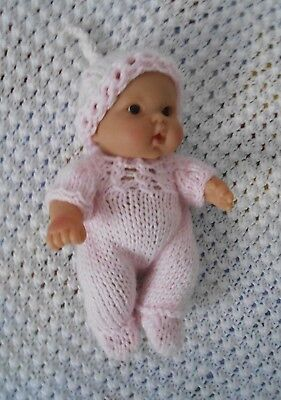"""Doll Clothes Hand-knit Pink Footed  jumpsuit Fits 7"""" to 8"""" Husky Baby Dolls"""