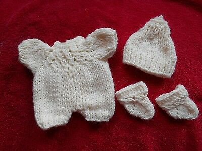 """Doll Clothes Hand-knit Ivory Romper 3 pc Fits 8"""" to 9"""" Baby Berenguer cloth body"""