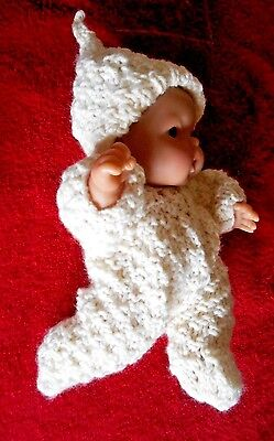 """Doll Clothes Hand-knit Ivory Footed Romper Fits Baby 8"""" to 9"""" Berenguer Dolls"""