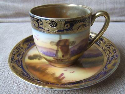 Old Mill China WINDMILL porcelain COFFEE CUP & SAUCER hand painted SIGNED (b)
