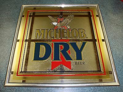 Vintage Michelob Dry Mirrored Beer Advertising Sign Man Cave Bar Collectible