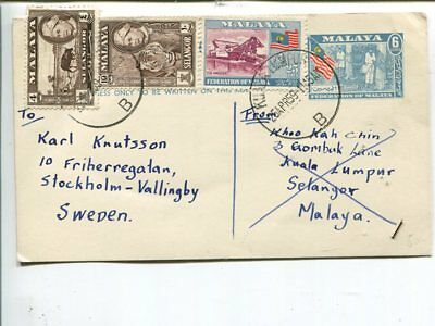 Malaya uprated air mail post card to Sweden 1959