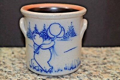 1992 Salmon Falls Stoneware Small Crock Cobalt Blue Bear with Balloon