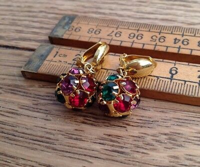 Nice Pair Of Vintage Clip On Earrings, Colourful Glass Stones