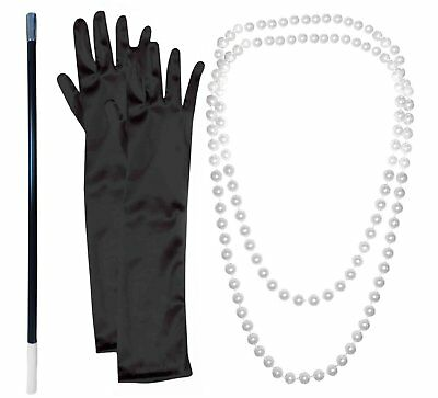 20s FLAPPER GANGSTER PEARL NECKLACE + CIGARETTE HOLDER + BLACK GLOVES