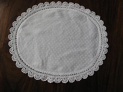 Vintage hand made lace edged Damask oval mat so beautiful
