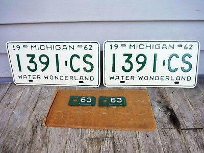 Pair Of Michigan 1962 Michigan License Plates With 1963 Tabs New Old Stock Mint!