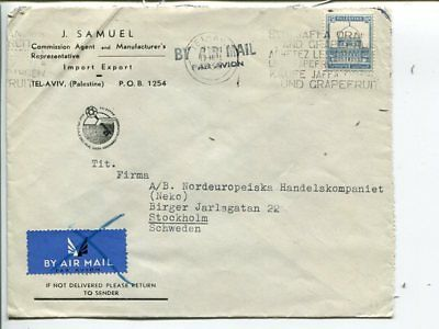 Palestine air mail cover to Sweden 1939