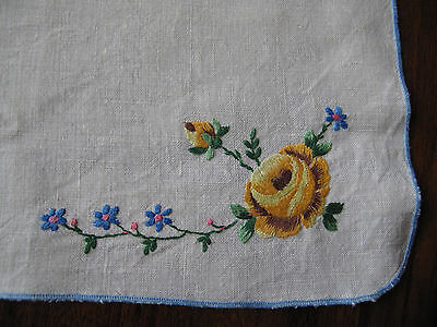 Vintage hand embroidered traycloth with yellow rose corner & blue edge so pretty