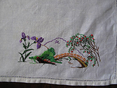 Vintage hand embroidered traycloth with Japanese landscape & Irises so pretty
