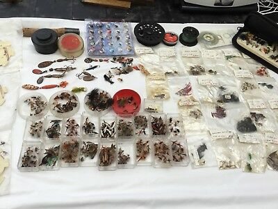 Large Collection Of Vintage Fishing Angling Flies Etc