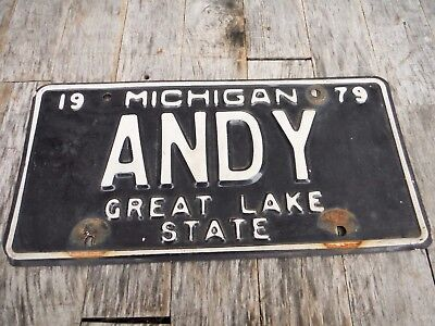 Vintage 1979 Michigan License Plate Andy Personalized Neat Old Plate!