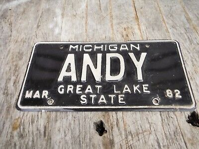 Vintage 1982 Michigan License Plate Andy Personalized Neat Old Plate!