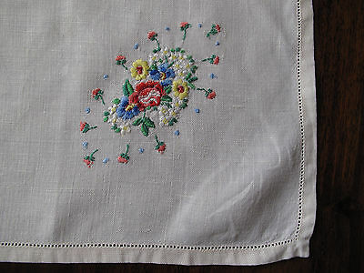 Vintage hand embroidered linen traycloth with bouquet of flower corner so pretty