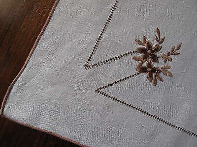 Vintage Retro embroidered traycloth with brown flower detail so pretty