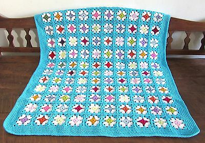 Handmade Crochet granny squares throw / afghan / blanket