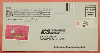 Oman 1997 Single Franked Business Reply Env Cover Registered Ruwi To Usa