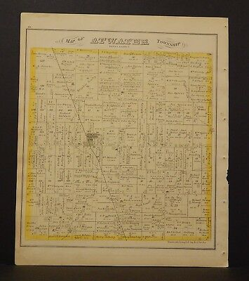 Ohio Portage County Map Atwater Township 1874 Dbl Side  Y14#50