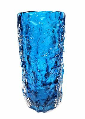 Vintage WHITEFRIARS Kingfisher Blue Tree Bark Vase 19cm - H18