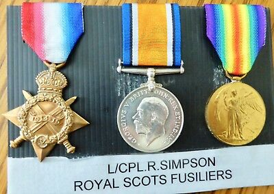 Ww1 1914-1915 Star Trio, L/cpl. R.simpson, 8017 Royal Scots Fusiliers