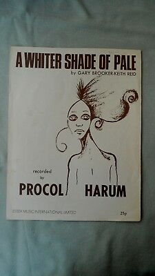 VINTAGE SHEET MUSIC PROCOL HARUM A WHITER SHADE OF PALE 1960s/70s GARY BROOKER