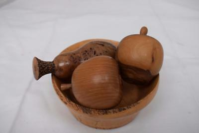 Small wooden fruit bowl turned in spalted beech + 3 pieces of Wooden Fruit Treen