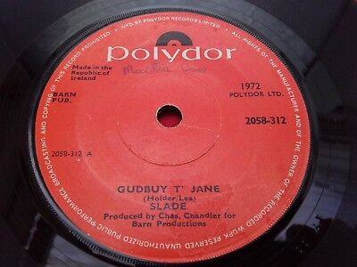 "SLADE - Rare IRISH Press 7"" - GUDBUY T' JANE - Polydor 1972 - Solid Centre"