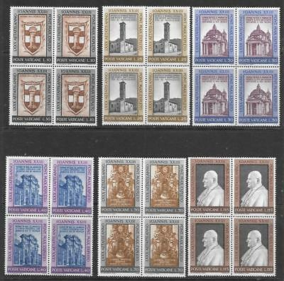 VATICAN - 1961.  Pope John XXIII 80th Birthday - Set of 6 - MH Blocks of 4