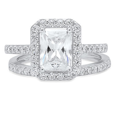 2.02ct Emerald Cut Engagement Bridal Solitaire Pave Ring Band set 14k White Gold