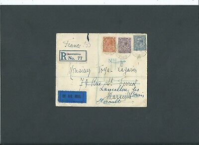 Berkshire 1925 KGV 71/2d Registered Air Mail Cover SUNNINGHILL ASCOT to France