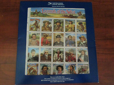 $US Legends of The West recalled error sheet, Sc#2870, P.O. Packaging, cv. $220